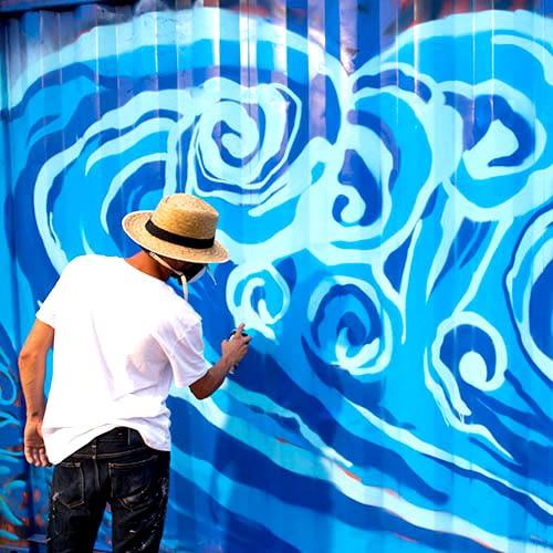 utilisation du graffiti pour la réalisation d'une fresque à Lyon